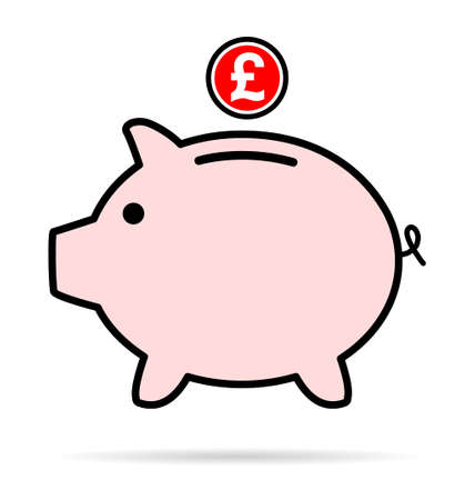 Piggy bank flat icon, vector sign with pound web symbol. Money income, economic graphic button. 向量圖像