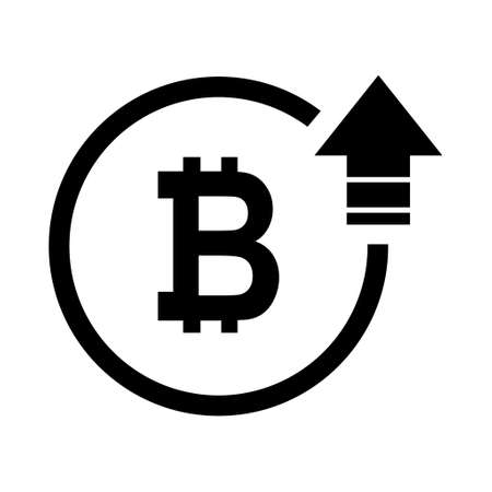 Bitcoin high symbol, cost increase icon. Growth profit bussiness sign vector illustration. 向量圖像
