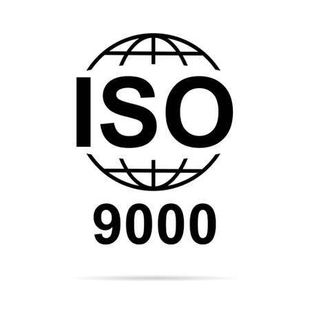 Iso 9000 icon. Standard quality symbol. Vector button sign isolated on white background.