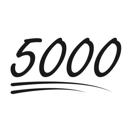 Congratulation number lettering, 5000 celebrate follower icon, web online post vector illustration.