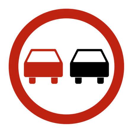 No overtaking warning road, prohibition transportation icon, car forbidden information vector illustration.