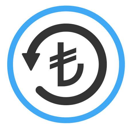 Chargeback turkish lira icon symbol, return turkey money isolated on white background.