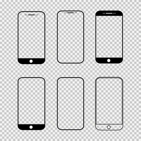 Set of smart mobile phone mock up, Smartphone technology template, realistic vector illustration.