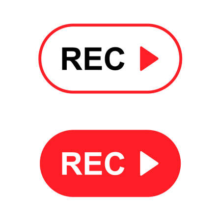 Set of recording sign button, red app panel, rec, vector symbol isolated on white background. Illusztráció
