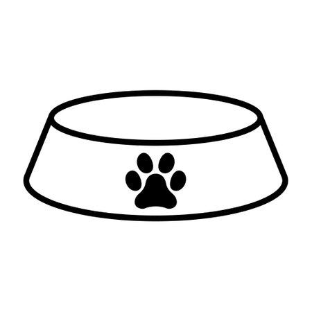 Bowl icon for pet, food sign isolated on background, vector illustration, meal dinner symbol design. Illusztráció