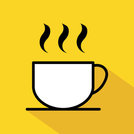 Coffee icon, breakfast drink cafe, cappuccino, hot simple isolated illustration, vector line. Illusztráció