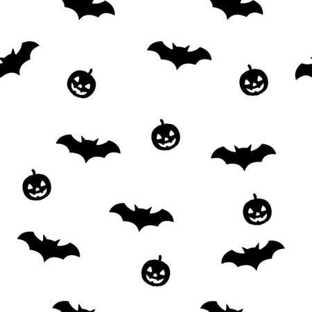 Bat and pumpkin halloween seamless patter with white background. Scary vector illustration. Illusztráció