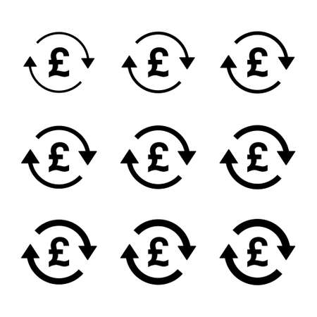 Set of pound money icon, Collection of gbp business sign, market economy vector illustration.