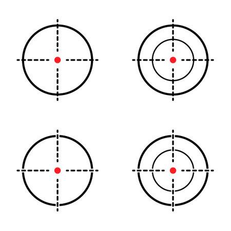 Set of Sight gun vector icon. Modern target illustration of crosshair symbol for web design. Cross mark dot . Illusztráció