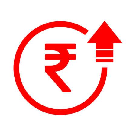 Rupee high symbol, cost increase icon. Growth profit bussiness sign vector illustration . Illusztráció