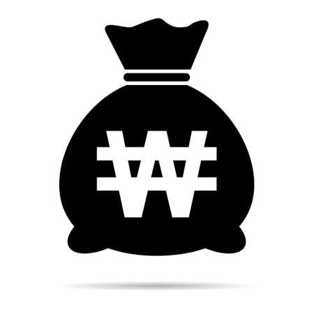 Money bag icon isolated on white background. Bank symbol, profit graphic, flat web sign.