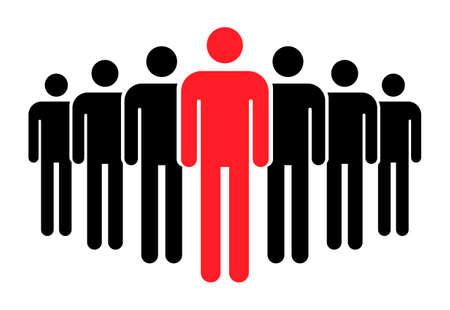Grouping people flat icon isolated on white background. Teamwork symbol. Leadership vector illustration .