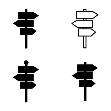 Set of signpost street vector illustration, collection of road arrow symbol isolated on white background, web pointer .