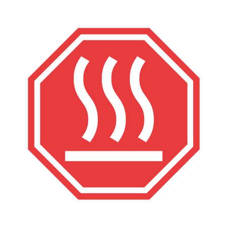 Hot surface icon, safety graphic information symbol, risk notice attention mark, caution vector design. Illusztráció