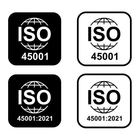 Iso 45001 icon. Occupational Health and Safety. Standard quality symbol. Vector button sign isolated on white background . Illusztráció