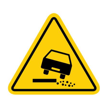 Road danger car icon, traffic street caution sign, roadsign vector illustration, warning vehicle .