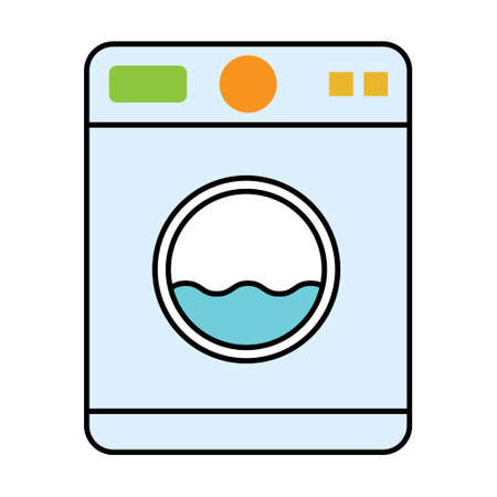 Washing machine equipment, Electric washer laundry icon, wash symbol clothes, vector illustration background . Illusztráció