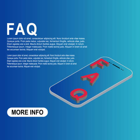 FAQ, 3D template frequently asked questions vector icon. Information speech bubble symbol, help message .