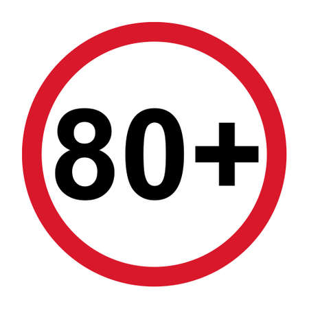 80 restriction flat sign isolated on white background. Age limit symbol. No under eighty years warning illustration .