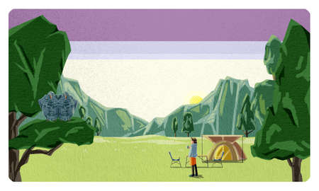 """Camping scenery with mountains and trees """"morning"""""""