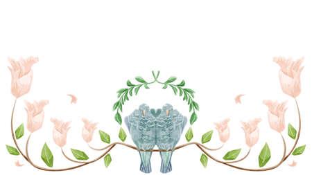 Dove Couple Flower Frame Illustration