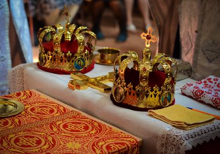 sacral symbol: Wedding preparation in Orthodox Church -  bridal church crowns