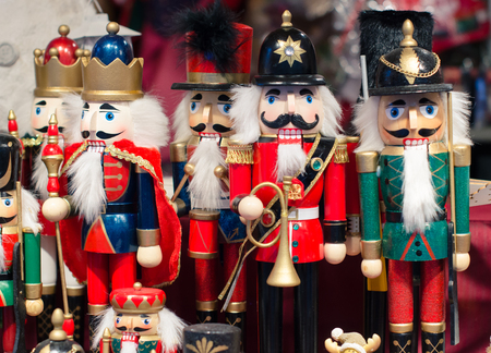 Christmas market in details. Christmas toy - wooden Nutcrackers