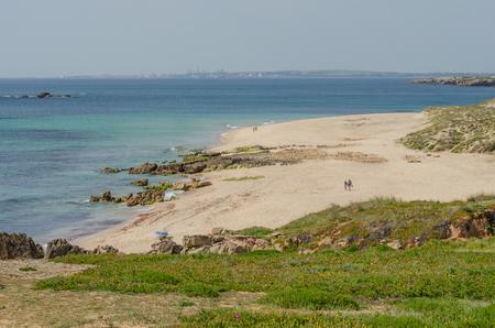 Landscape of Praia da Ilha do Pessegueiro beach near Porto Covo, Portugal. Banco de Imagens
