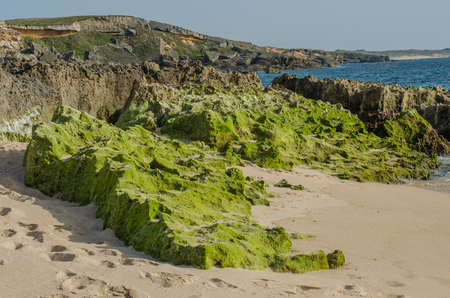 Landscape of Praia da Ilha do Pessegueiro beach near Porto Covo, Portugal. Stock Photo