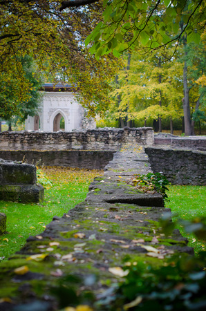 architecture of ruins in autumn