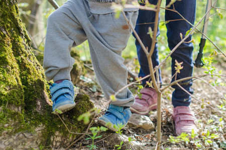 Children feet hike through the forest in early spring