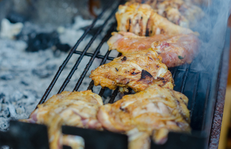 Outdoor food - close up of white meat on the grill Reklamní fotografie