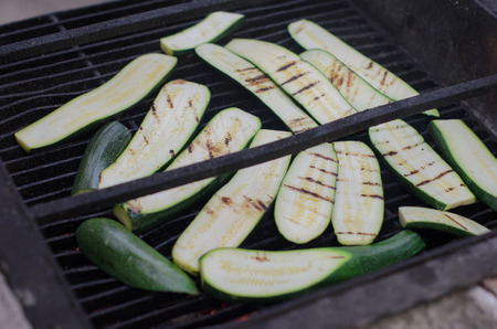Barbeque close up of vegetables - zucchini