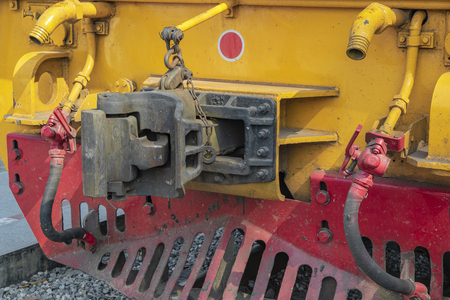 Close up type connection joint or knuckle front of train.