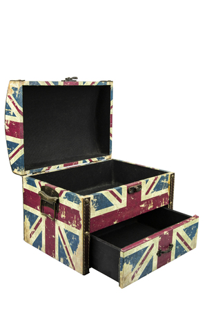 Vintage box with british flag isolate on white background with clipping path
