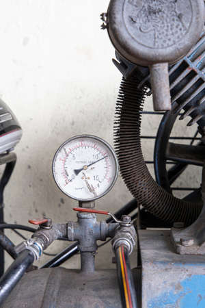 Close up Air pump gauge at workshop background. Reklamní fotografie