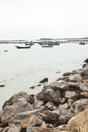 A group of fishing boat at HuaHin, Thailand photo