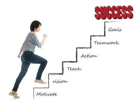 steps to success: First step to success of asian young woman, isolated Stock Photo