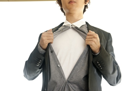 Asian young business man showing inside of his suit photo