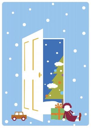 illustration of christmas tree from opened door illustration