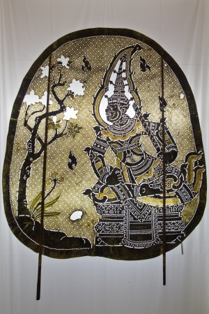 Nang yai Thai traditional shadow puppet at Wat Khanon Temple in Ratchaburi, Thailand Stock Photo - 15361881
