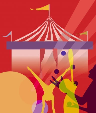 itinerant: striped strolling circus marquee tent with juggling