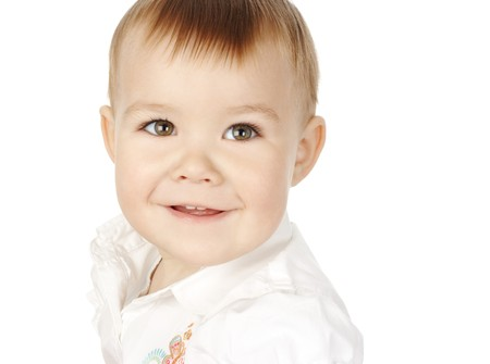 Cute child turn and smile, isolated over white Stock Photo - 4305444
