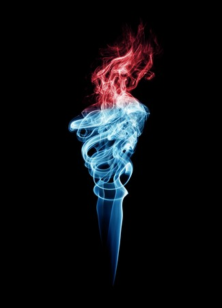 mystique: Blue and red torch-shaped smoke, isolated over black Stock Photo