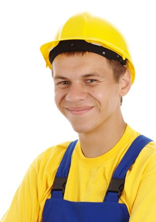 Happy young worker wearing hard hat and blue-and-yellow uniform, isolated over white Stock Photo - 5314465