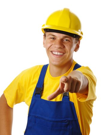 journeyman technician: Happy young worker pointing at you and smile, isolated over white