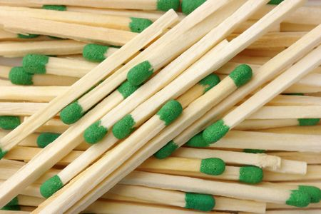conscription: Green matchsticks, can be used as a background Stock Photo