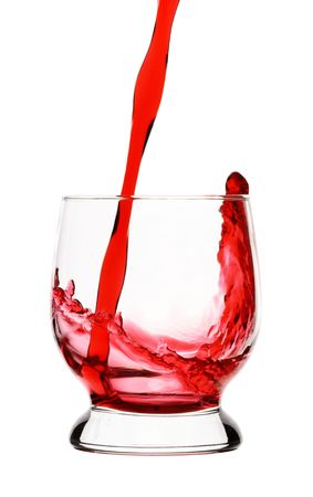 Splash, red wine is being poured into glass, isolated over white Stock Photo - 5886328