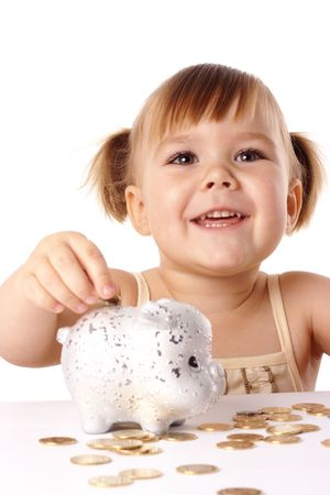 Cute little girl with piggybank, isolated over white Stock Photo - 5939787