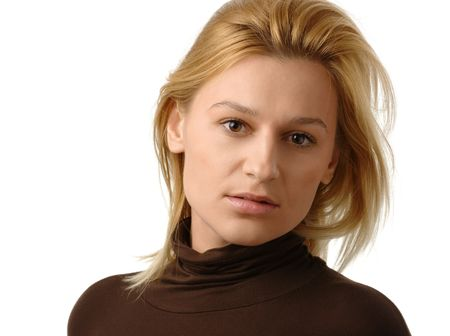 Portrait of a beautiful blonde, isolated over white Stock Photo - 6378794